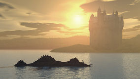 Loch Ness Monster and Scottish Castle. Computer generated 3D illustration with Loch Ness Monster and Scottish Castle Stock Photo