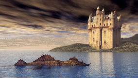 Loch Ness Monster and Scottish Castle Stock Photography