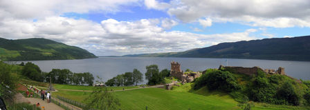 The Loch Ness. Urquhart castle and Loch Nees landscape Royalty Free Stock Photos