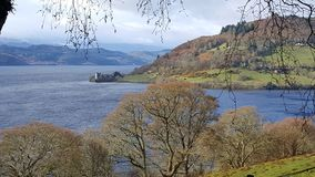 Loch Ness. Urquhart castle view on Loch Ness Stock Images