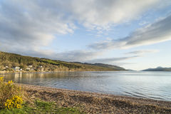 Loch Ness view from Dores in Scotland. Royalty Free Stock Images
