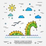 Loch Nessmonsterlogo Gör linjen symbolen för rengöringsdukdesign och appli tunnare Royaltyfri Fotografi