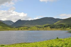Loch in Scotland. A scenic view over the Scottish landscape at the end of Stratconon glen with Loch Beannacharain in the front royalty free stock photos