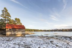 Loch Vaa in winter in the Cairngorms National Park of Scotland. Loch Vaa near Aviemore in the Cairngorms National Park of Scotland Stock Photos
