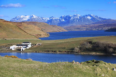Loch, valley and farm Stock Photos