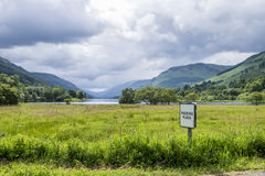 Loch Voil and Passing Place Sign Stock Photo