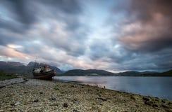 Loch wreckship van Eil stock fotografie