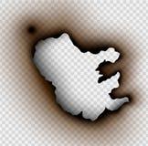 Loch zerrissen in zerrissenem Papier mit gebrannt lizenzfreie abbildung