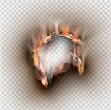 Loch zerrissen in zerrissenem Papier mit gebrannt und Flamme auf transparentem lizenzfreie abbildung