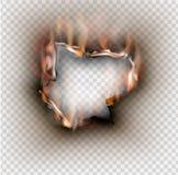 Loch zerrissen in zerrissenem Papier mit gebrannt und Flamme auf transparentem stock abbildung