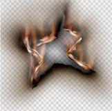 Loch zerrissen in zerrissenem Papier mit gebrannt und Flamme auf transparentem vektor abbildung