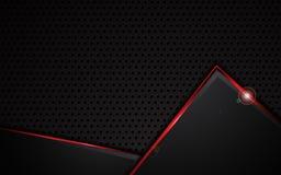 LOCHbeschaffenheits-Musterschablone des abstrakten roten metallischen Rahmendesigns trägt Stahlkonzepthintergrund zur Schau stock abbildung