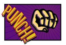 Lochende Faust des Comic-Buches mit Onomatopöie Stockfoto