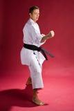 Lochender Karatekämpfer stockfoto