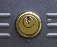 Lock. Close up of copper door lock Royalty Free Stock Images