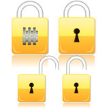 Lock. Set of opened, closed and with the password of gold locks Stock Photography