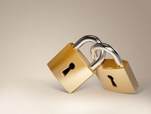 Lock. Two beautiful  golden locks Stock Photography
