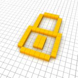 Lock 3d icon in grid. Rendered illustration Royalty Free Stock Images
