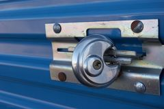 Lock. Padlock on a storage locker Stock Images