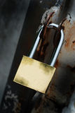 Lock. A photo of a golden blank lock Royalty Free Stock Photography