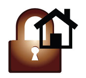 Lock. Home lock safe in white background Royalty Free Stock Photos