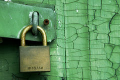 Lock. A lock on a green textured door with branding removed and generic serial number left Royalty Free Stock Photo