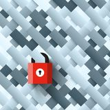 Lock on Abstract Shapes Background. Vector Locked Internet Security Symbol Stock Illustration