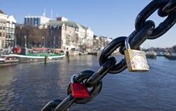 Lock on Amsterdam bridge Stock Photos
