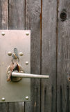 Lock Assembly in the Wooden Door Royalty Free Stock Photos