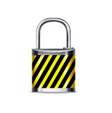Lock with attention mark isolated Royalty Free Stock Photography