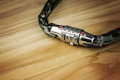 Lock for bicycle, Coded lock. royalty free stock photos