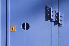 Lock on blue metal door Royalty Free Stock Photos