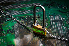 Lock on the board connection technology Stock Photos