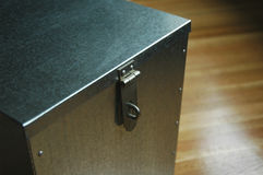 Lock Box. Galvanized metal box with lock loop and hinge Royalty Free Stock Images