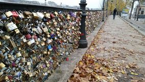 The Lock Bridge in Paris France. Locks from tourists in Paris France Royalty Free Stock Photography