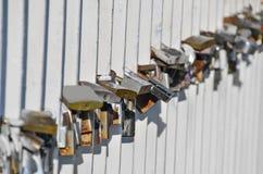Lock on bridge railing Stock Images
