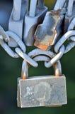 Lock on bridge railing Royalty Free Stock Photo