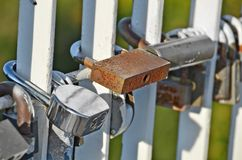 Lock on bridge railing Royalty Free Stock Image