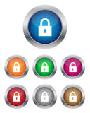 Lock buttons. Collection of lock buttons in various colors Stock Photo