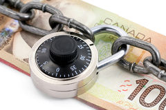 Lock and canadian dollar Stock Images