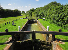 Lock on a Canal. Lock on the Kennet & Avon Canal in Wiltshire Royalty Free Stock Images