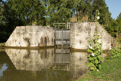 Lock, Canal de Bourgogne, France. Exterior of one of the locks on the Canal de Bourgogne in France Royalty Free Stock Photo