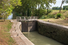 Lock on Canal. Lock on the Canal du Midi in France Stock Photography