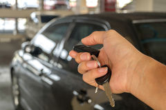 Lock the car. Locking car with remote control Royalty Free Stock Image