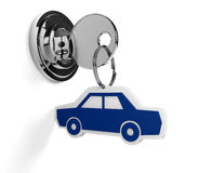 Lock with car Stock Photo