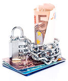 Lock with cash and credit card stock image