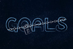 Lock and chain blocking or protecting the word Goals Royalty Free Stock Images