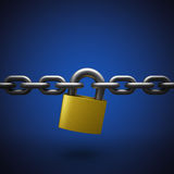 Lock and chain. On blue background, 3D illustration stock images