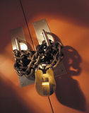 Lock and chain on double doors Royalty Free Stock Photography