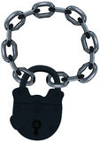 Lock on a chain. Royalty Free Stock Photo